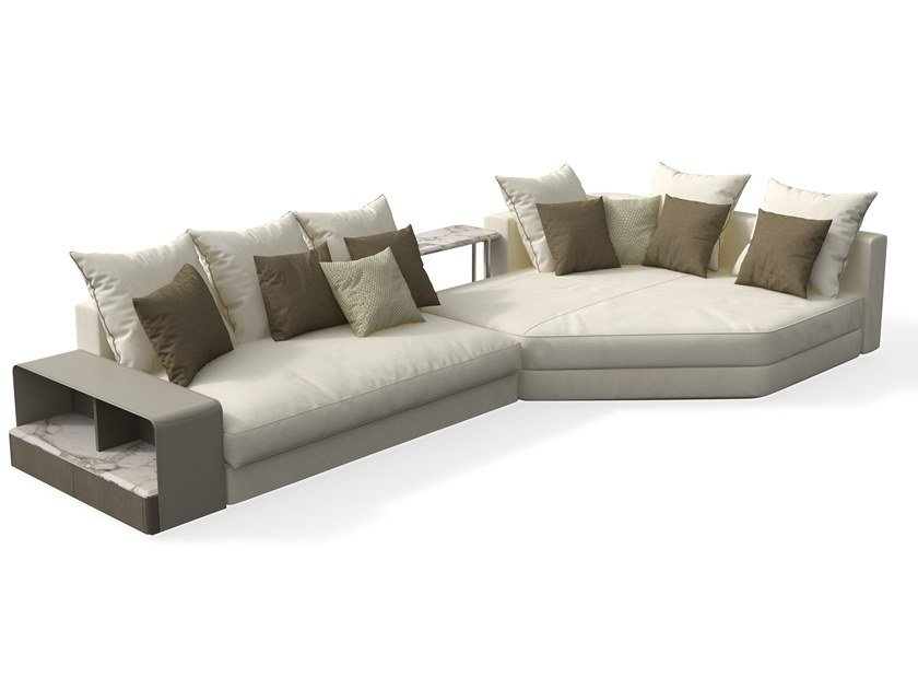 Sectional modular leather sofa with chaise longue