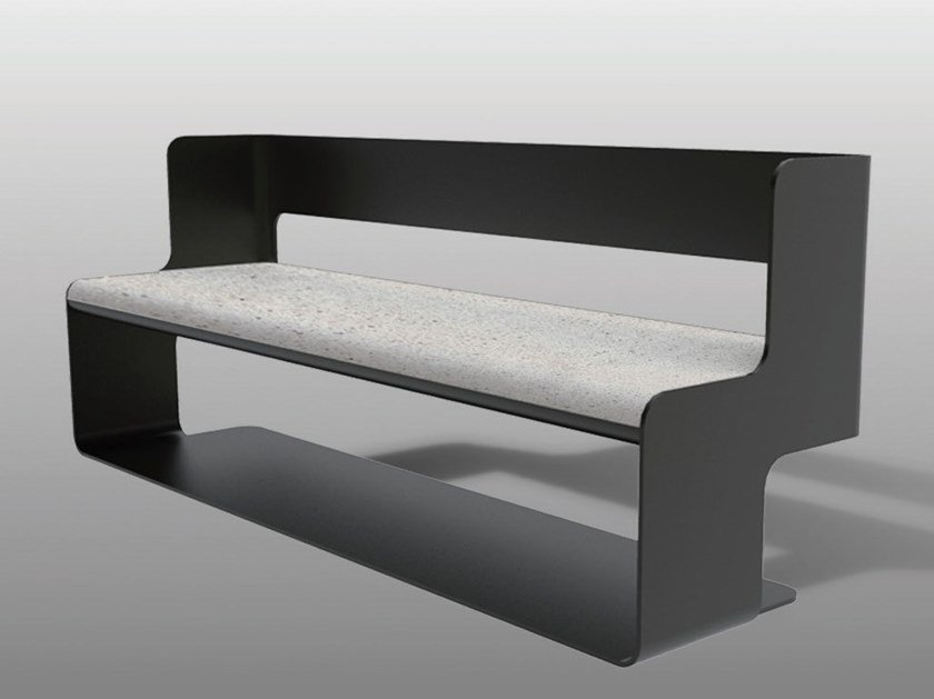 Bench with back SLALOM A by Manufatti Viscio