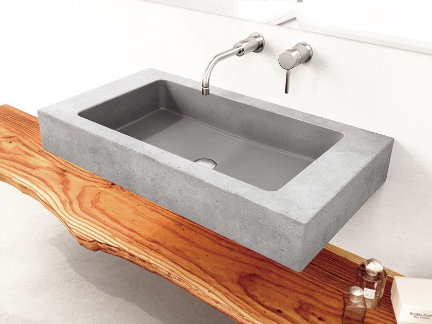 Single wall-mounted concrete washbasin SLANT 06 SINGLE by Gravelli