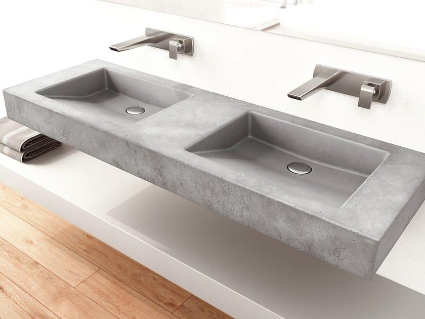 Doppel- Hänge- Waschbecken aus Beton SLANT 07 DOUBLE By Gravelli