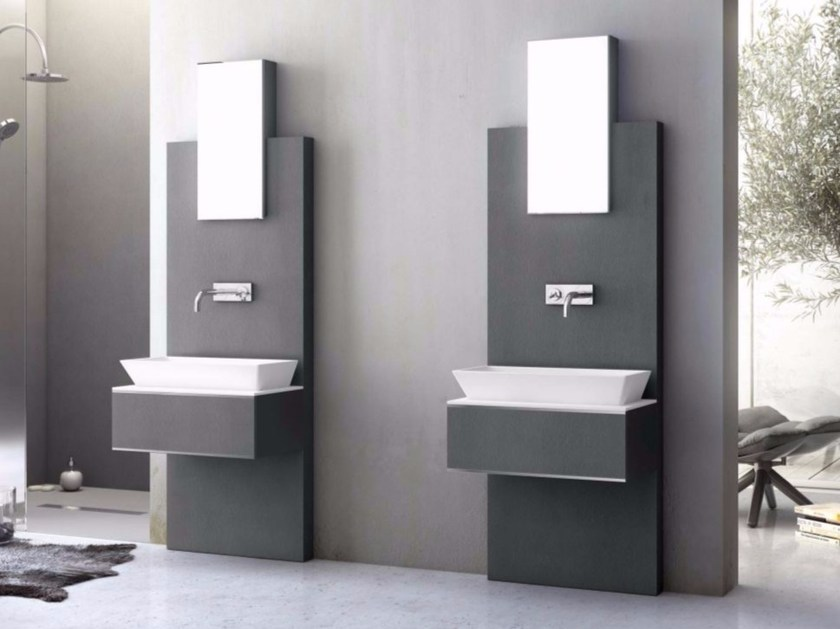 Wall-mounted vanity unit with drawers with mirror SLATE 04 by Fiora