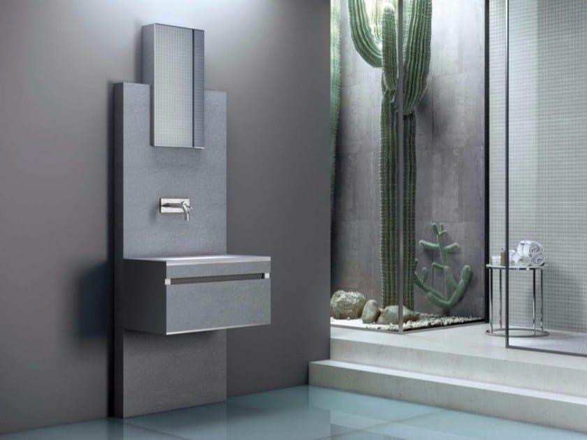 Mobile lavabo sospeso con cassetti con specchio SLATE 05 by Fiora