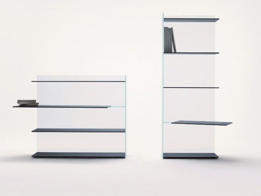 Crystal bookcase SLIDE | Bookcase by Glas Italia