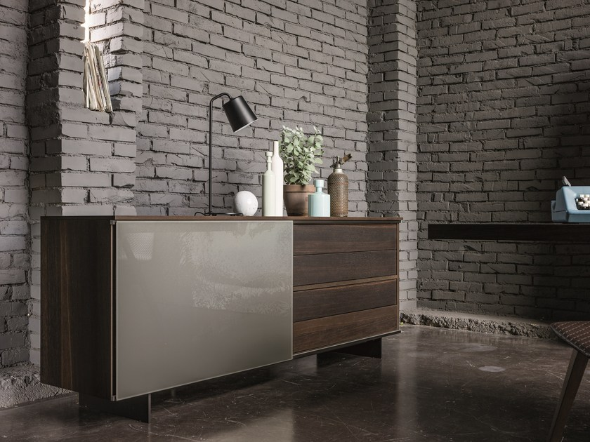 Wood and glass sideboard SLIDE | Wood and glass sideboard by Dall'Agnese