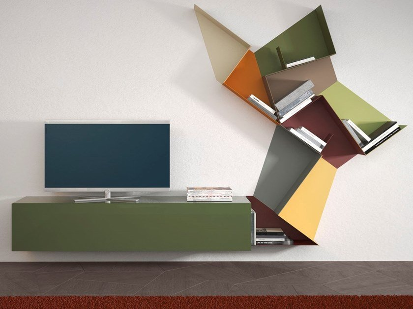 Sectional lacquered metal storage wall SLIDE | Storage wall by Lago