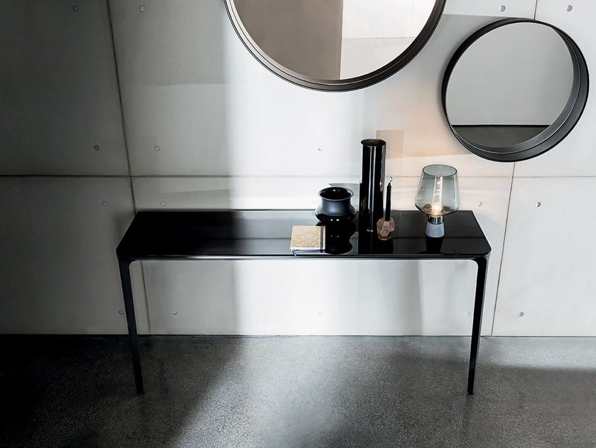 Rectangular glass console table SLIM 2 LEGS by Sovet italia