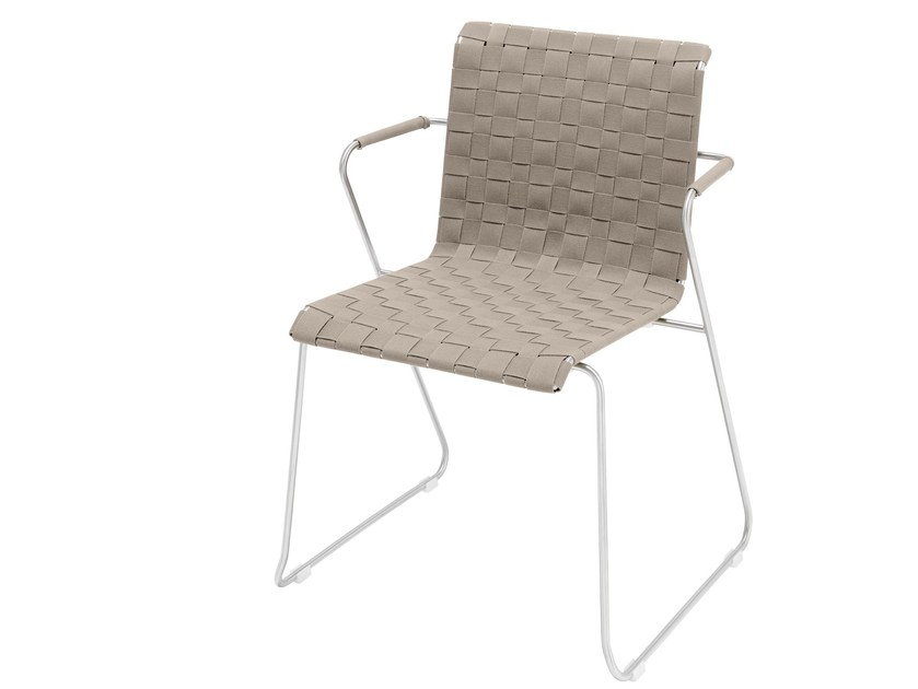 Sled base stackable chair with armrests SLIM BELT | Chair by VITEO