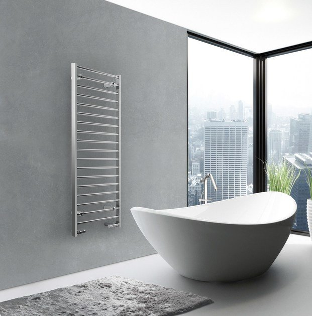 Chrome wall-mounted towel warmer SLIM-C by DELTACALOR