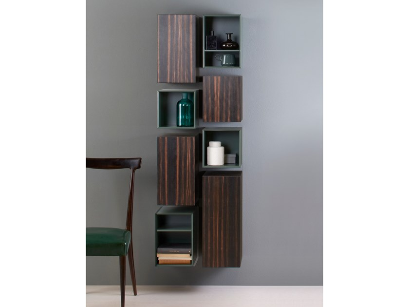Tall ebony bathroom wall cabinet SLIM by Capo d'Opera