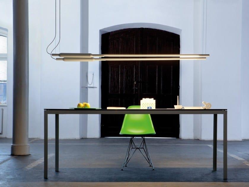 Direct light fluorescent aluminium pendant lamp SLIM HORIZONTAL by Vertigo Bird