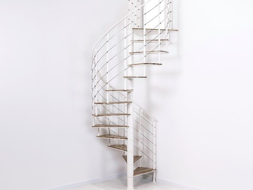 Steel And Wood Spiral Staircase Slim Legno By Fontanot
