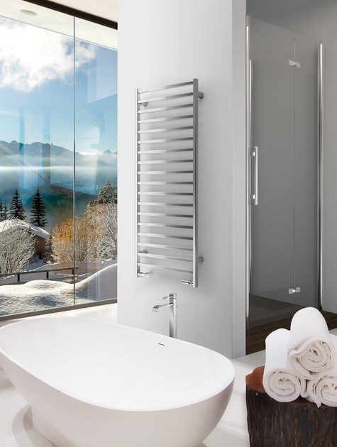 Chrome wall-mounted towel warmer SLIM-Q by DELTACALOR
