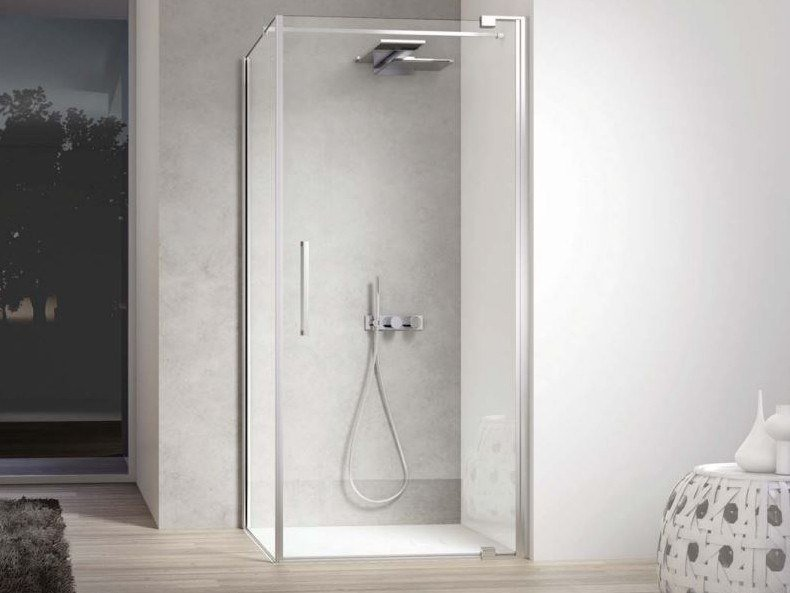 Shower cabin with hinged door SLIM SLPO+SLFI by DISENIA
