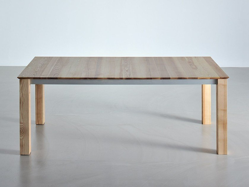 Extending rectangular solid wood table SLIM by Vitamin Design