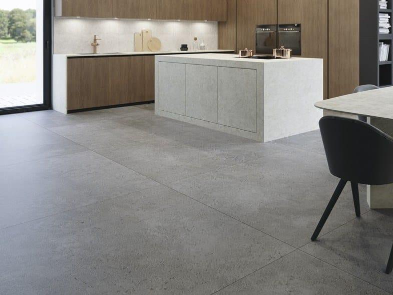 Pavimento in gres porcellanato effetto cemento SLIMMKER ASTRAL by Inalco