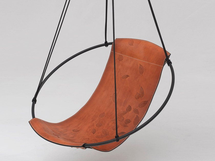 1 Seater Tanned Leather Garden Hanging Chair SLING LEAVES By Studio Stirling
