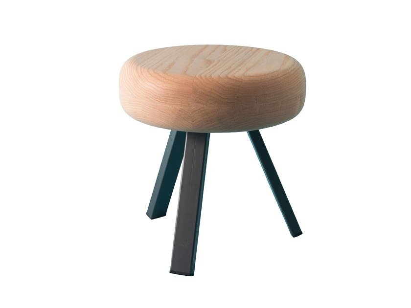 Low steel and wood stool SMACK | Low stool by Matière Grise