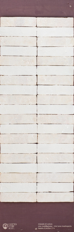 SMALTI - MATT & GLOSSY Listello 5,5x25x1,7 - Matt&Glossy - Bianco Opaco + C-Luna Madreperla