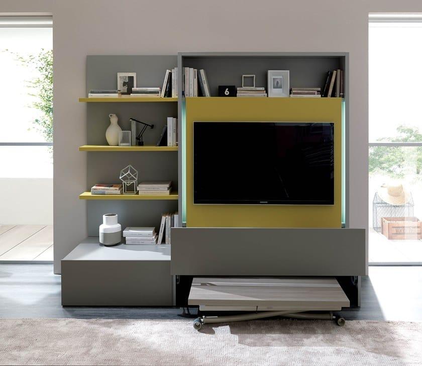 Con Parete Tv Italia Ozzio Attrezzata Porta Living Smart Componibile On0wkP8X
