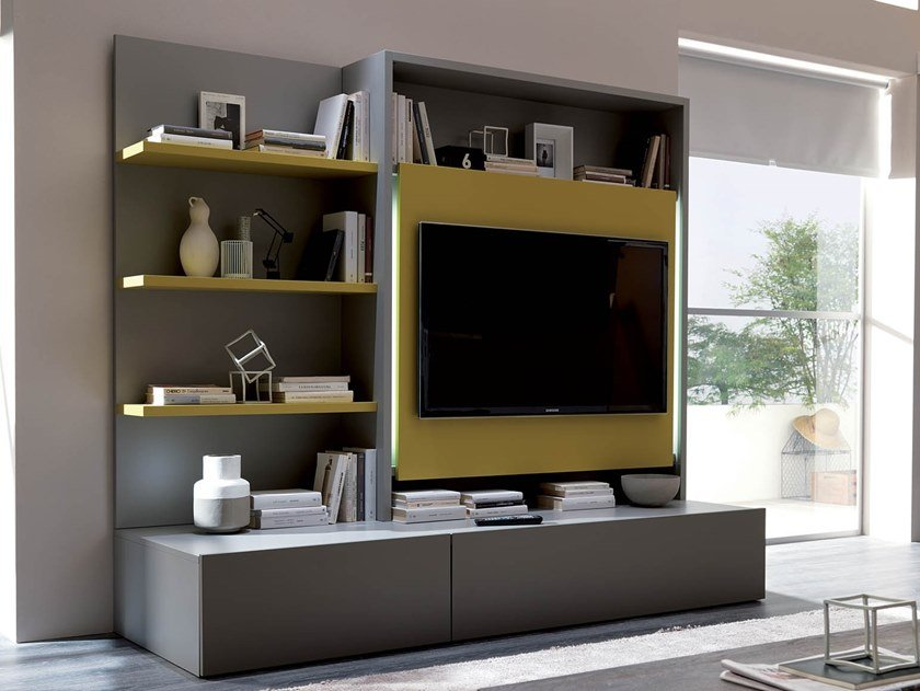 Sectional TV wall system SMART LIVING by Ozzio Italia