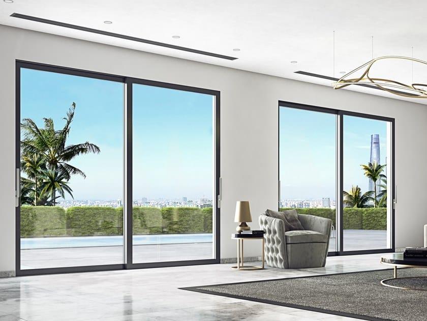 Porta-finestra scorrevole con doppio vetro SMARTIA M45000 by Alumil