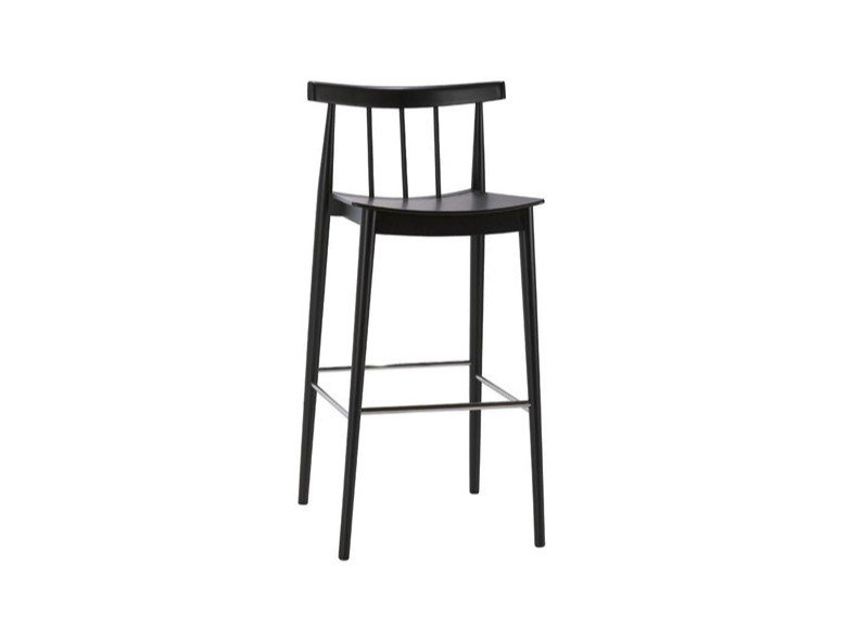 High beech stool with back with footrest SMILE BQ0327 / BQ0346 by Andreu World