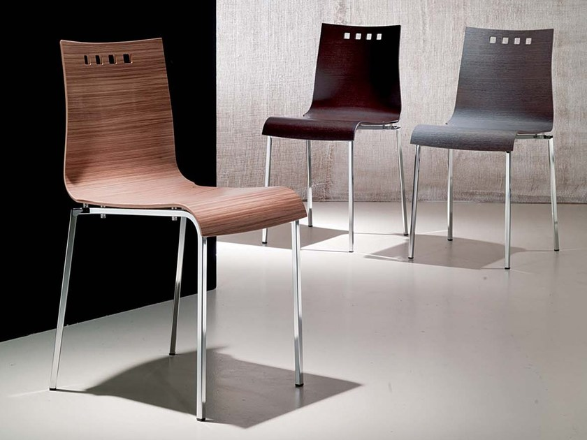 Stackable wooden chair SMILE | Wooden chair by Ozzio Italia