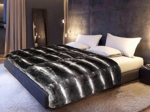 Natural fur throw and cushions SMOOTH by Miyabi casa