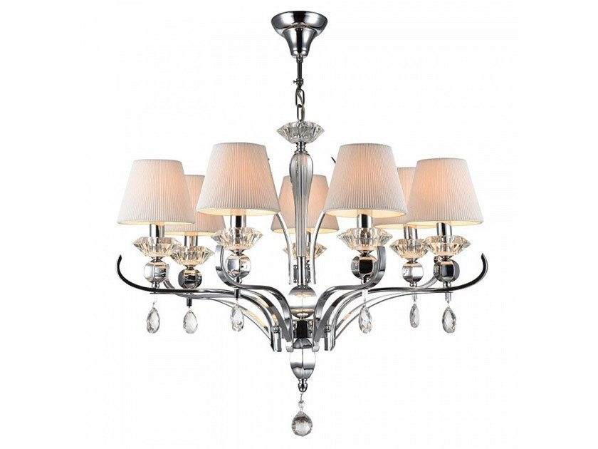 Fabric chandelier with crystals SMUSSO | Pendant lamp by MAYTONI