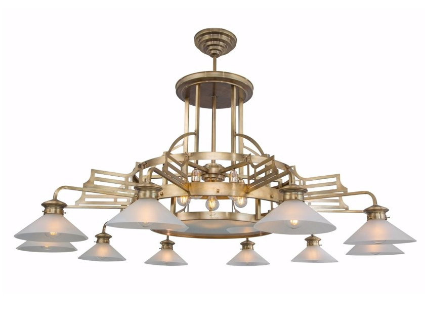 Handmade brass chandelier SNOOKER 10 | Chandelier by Patinas Lighting