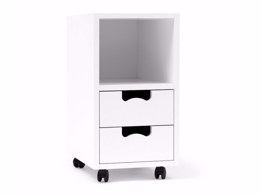 Free standing lacquered MDF chest of drawers with casters SNOW G2 by ASPLUND