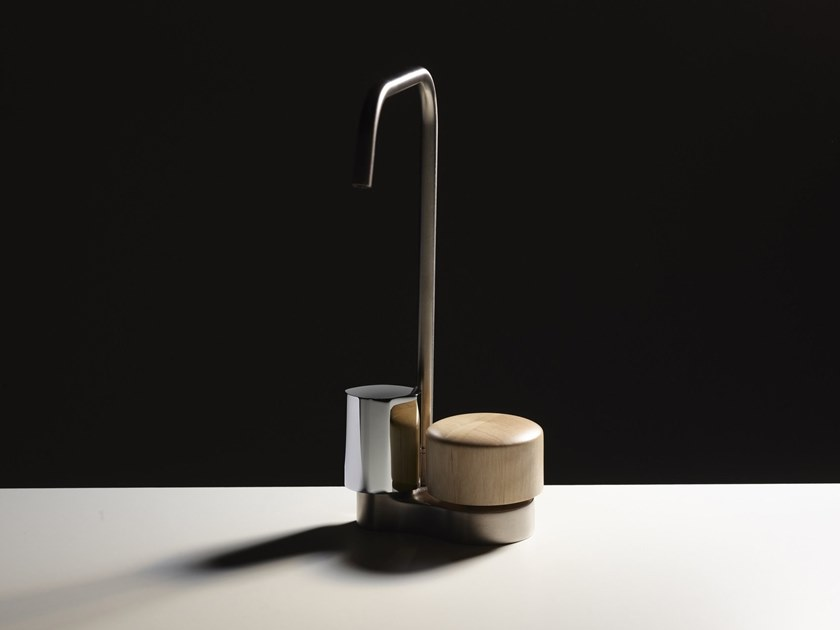 Countertop steel and wood washbasin tap SO | Steel and wood washbasin tap by FIMA Carlo Frattini
