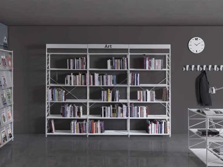 Open freestanding metal office shelving SOCRATE BIBLIOTECH by Caimi Brevetti