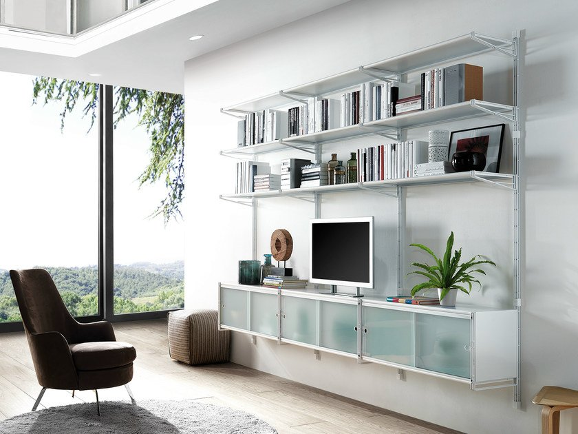 Wall-mounted sectional bookcase SOCRATE HOME | Wall-mounted bookcase by Caimi Brevetti