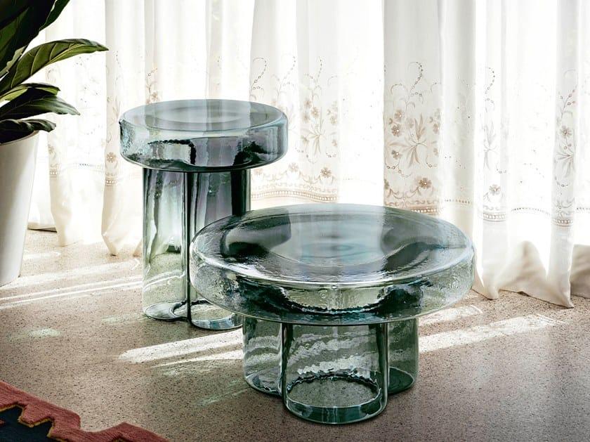 Tavolino rotondo in vetro soffiato SODA by Miniforms