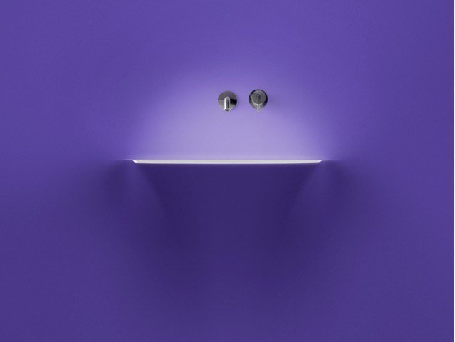 Corian® washbasin with light SOFFIO by Antonio Lupi Design