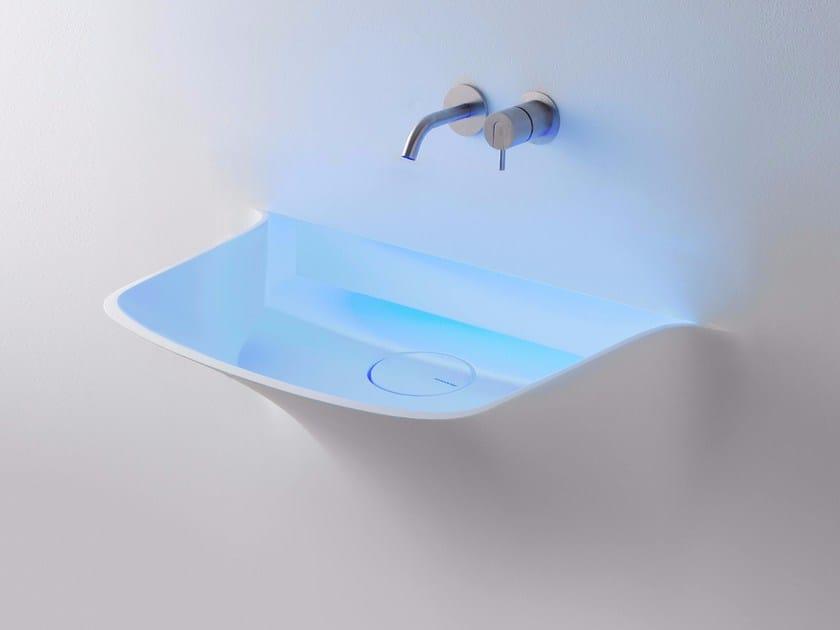 Corian® washbasin with light SOFFIO by Antonio Lupi Design