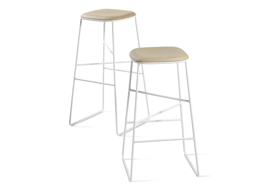 Sled base steel and wood stool SOFT by Casprini