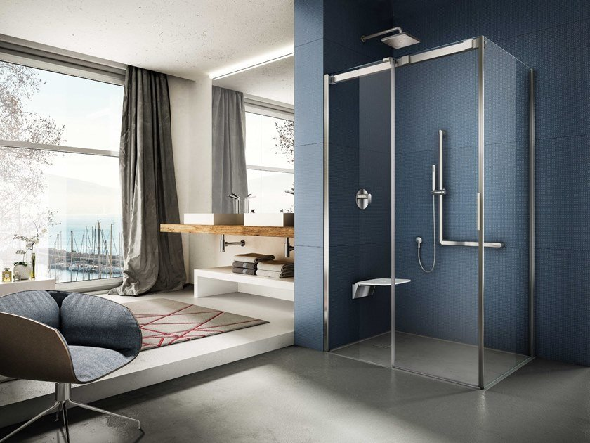 Corner tempered glass shower cabin with sliding door SOFT | Corner shower cabin by Provex Industrie
