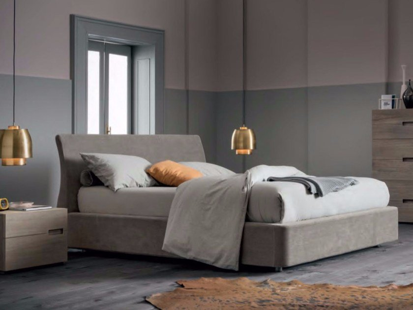 Upholstered fabric double bed SOFT by Dall'Agnese