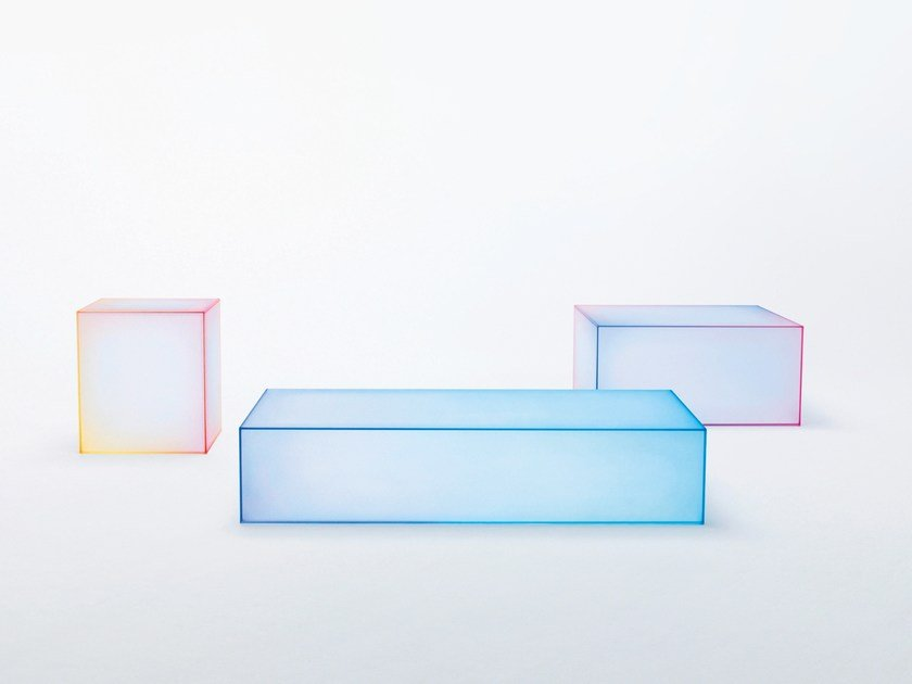 Low square crystal coffee table SOFT by Glas Italia