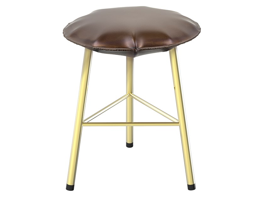 Iron stool with footrest SOFT IRON 04 by Il Bronzetto