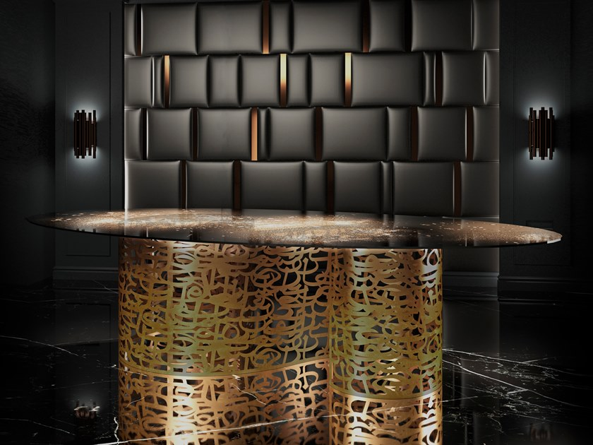 Oval glass table SOGNO D'ORIENTE by Unica by Tecnotelai