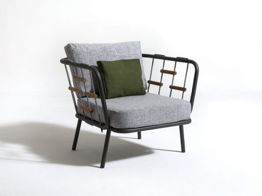 Fabric garden armchair with armrests SOHO | Garden armchair by Talenti