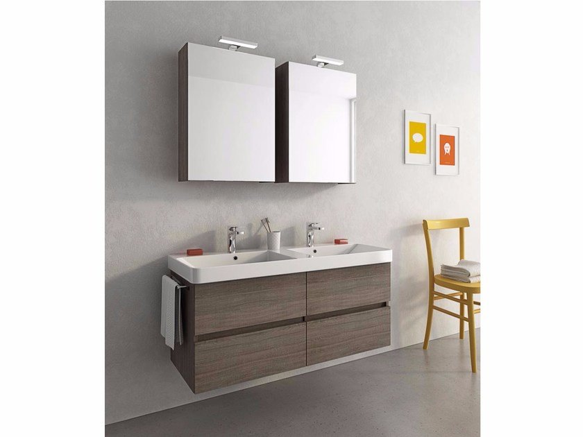 Wall-mounted vanity unit with drawers SOHO S16 by LEGNOBAGNO
