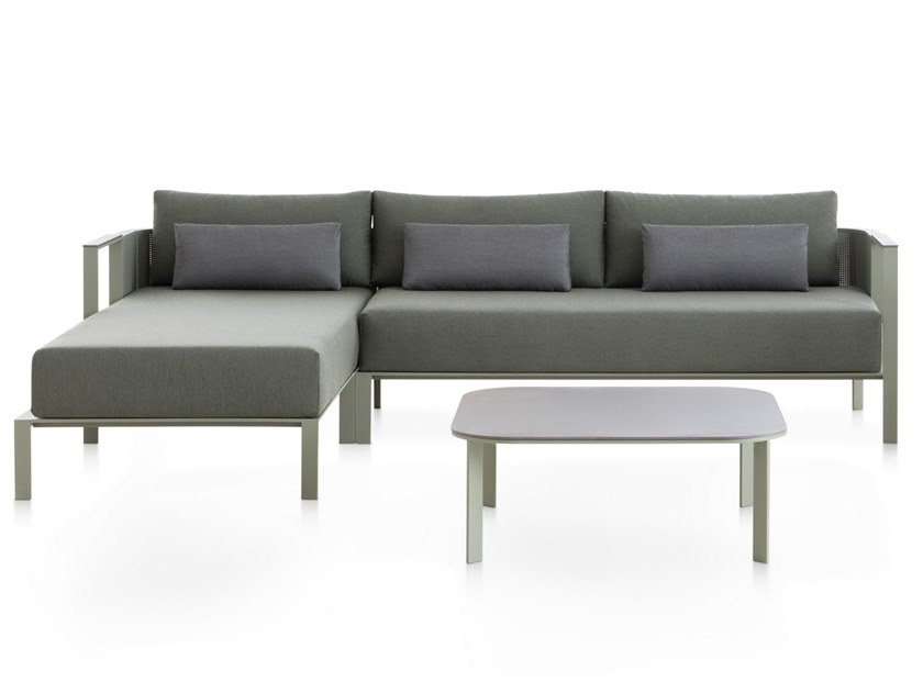 Thermo lacquered aluminium garden sofa with chaise longue SOLANAS | Sectional sofa by GANDIA BLASCO