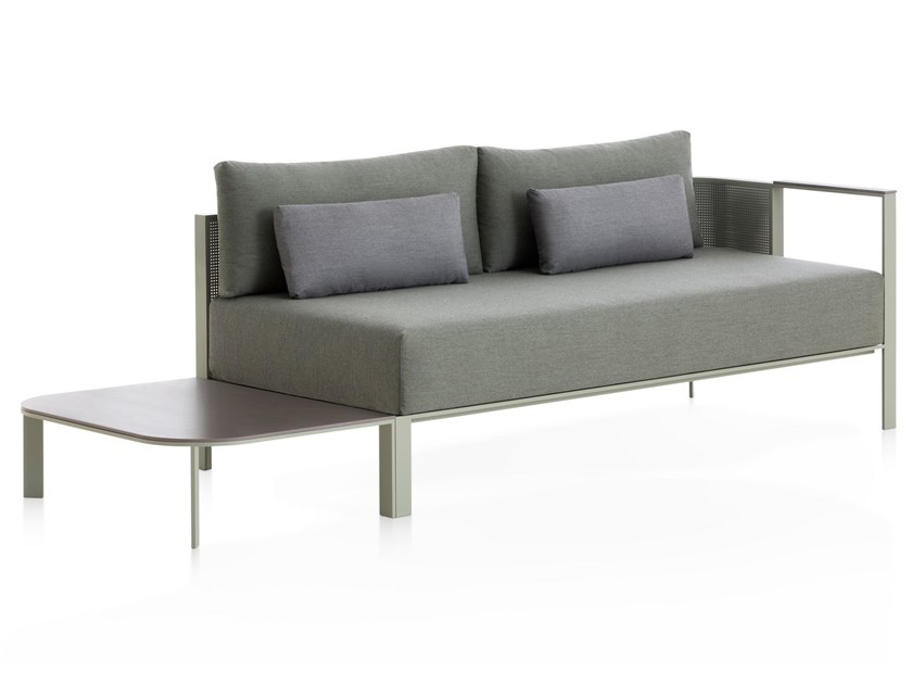 3 seater thermo lacquered aluminium garden sofa SOLANAS | Sofa with integrated magazine rack by GANDIA BLASCO