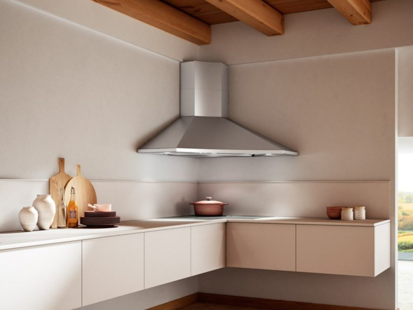 Corner stainless steel cooker hood SOLARIS by FABER