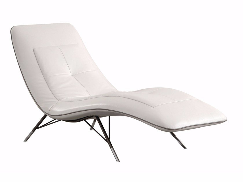 Upholstered leather Chaise longue SOLARIS By ROCHE BOBOIS ...