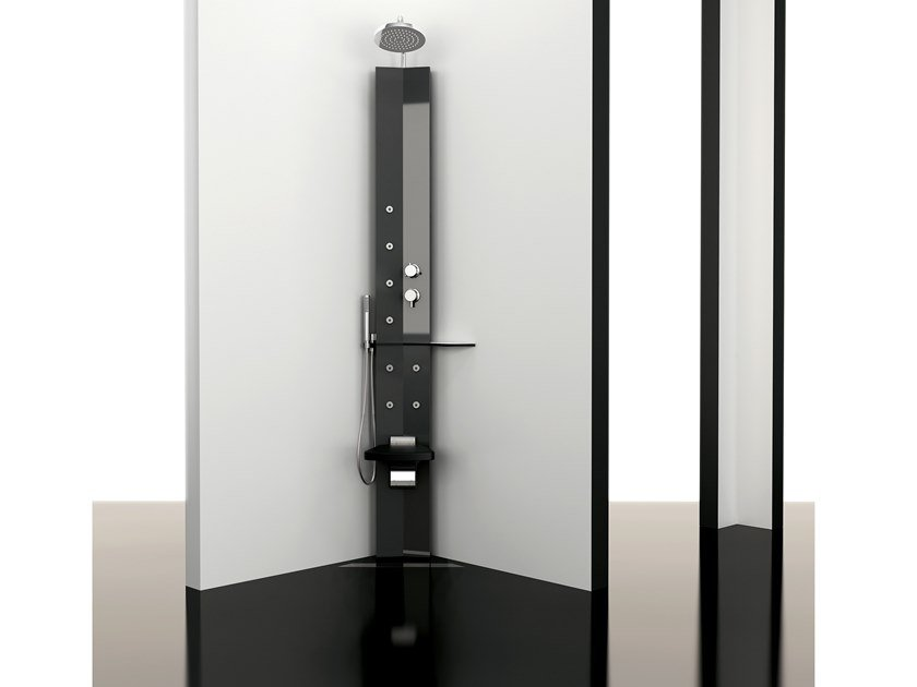 Floor standing shower panel with overhead shower SOLE LEANING by ARBLU